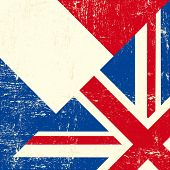 Bandeira de grunge britânico e francês.