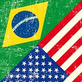 Brazil and USA grunge Flag.