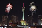 A Stratosphere Fireworks View From Mccarran International Airport