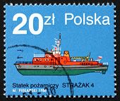 Postage Stamp Poland 1988 Strazak 4, Fire Boat