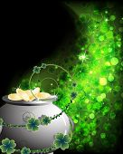 image of gold panning  - Leprechaun Pot with gold coins on an abstract clover background - JPG