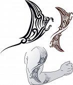 Maori estilo patrón de tatuaje en forma de perfil de mantarraya. Ajuste para el hombro y antebrazo. View editable