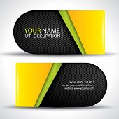Modern vector business card - green, yellow and black colors with carbon texture