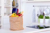 Paper Shopping Bag Full Of Food