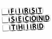 3D First Second Third Button Click Here Block Text