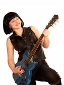 Young Woman Plays On A Guitar