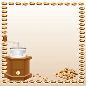 Coffee grinder and coffee background.