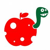 The funny worm in the apple