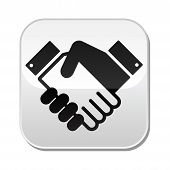 Handshake vector button - agreement, business concept