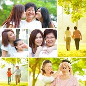 Collage photo mothers day concept. Family generations having fun at outdoor park. All photos belong