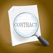 picture of rental agreement  - Examining a Contract or Legal Document with a Magnifying Glass - JPG