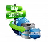 picture of mainframe  - data security global communications concept illustration design over white - JPG