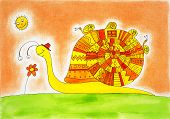 Snail family, child's drawing, watercolor painting on canvas paper