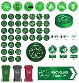 Recycling sign button set