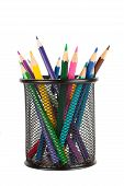 stock photo of sharpie  - Colorful pencils in a cup isolated over white background - JPG