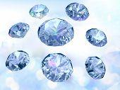 Diamonds On Light Blue Background, Successful Trade Symbol