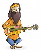 Hippie with guitar isolated on white background