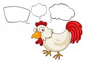 Illustration of a rooster with empty thoughts on a white background