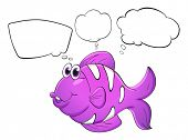 Illustration of a purple fish with empty callouts on a white background
