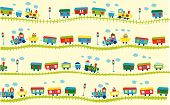 picture of cute kids  - Vector illustration of cute design elements train pattern - JPG