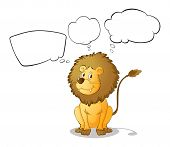 Illustration of a lion with empty thoughts on a white background