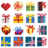 Set Of Vector Simple Pixel Presents Box.