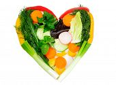 Heart shape made of vegetables