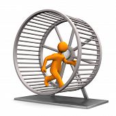 stock photo of hamster  - Orange manikind in the hamster running wheel - JPG