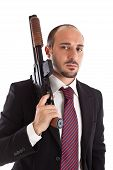 foto of mobsters  - Armed Mobster or businessman with shotgun over white - JPG
