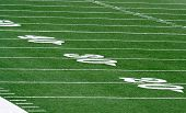 picture of football field  - view of Football field grass and yard lines - JPG