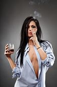 Sexy Woman Smoking And Drinking
