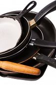Heap Of Kitchen Bakeware With Pan And Pot