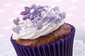 Cocoa Cupcake With Lilac Flower