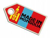 label with flag of Mongolia