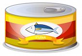 Illustration of a can of tuna on a white background