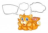 Illustration of a cat with the empty callouts on a white background