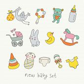 Cute cartoon baby set. Toys, carriage, baby, stork in funny vector set