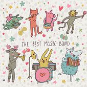 The best music band. Cartoon animals playing on various musical instruments - drums, accordion, flut