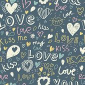 I love you. Kiss me. Romantic concept seamless pattern. Love elements in one background in vector