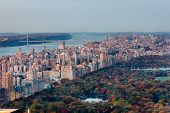 Aerial View Of Upper West Side And Central Park In Fall, NYC
