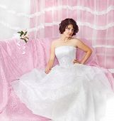 image of glans  - Portrait of beautiful  brunette bride on pink - JPG