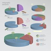 Color 3D Pie Chart Infographic Elements