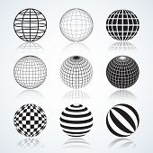 Set Of 9 Globes, Abstract Circular Design Elements