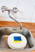 Washing-up By Cleaning Sponge