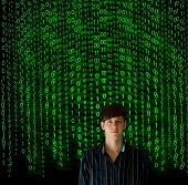 Nerd Computer Businessman On Matrix Binary Background