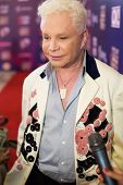 MOSCOW - MAY 25: Singer Boris Moiseev gives interview on Russian Music Award channel RUTV in Crocus