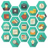stock photo of hexagon  - Set of 20 modern flat stylized hexagonal icons suitable for financial and business themes - JPG