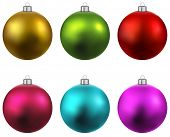 stock photo of  realistic  - Colorful christmas balls - JPG