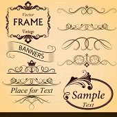 Vintage calligraphic vector design elements isolated on beige background.