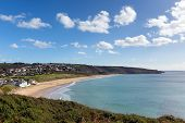 Praa Sands Cornwall England UK with sandy beach